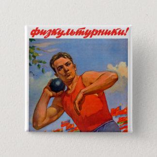 Sowjetische athletische Propaganda Quadratischer Button 5,1 Cm