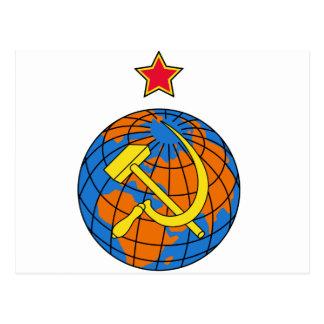 Sowjetischer Hammer u. Sichel und Erde Postkarte