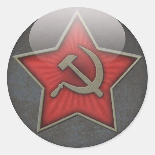 Sowjetisches Stern-Hammer und Sichel Runde Aufkleber