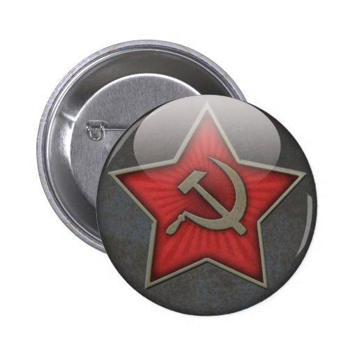 Sowjetisches Stern-Hammer und Sichel Buttons