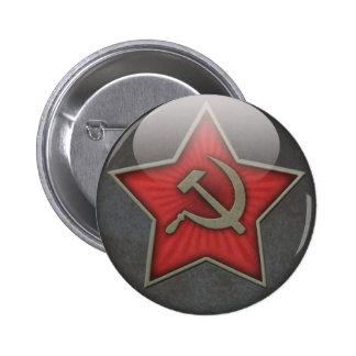 Sowjetisches Stern-Hammer und Sichel Runder Button 5,7 Cm