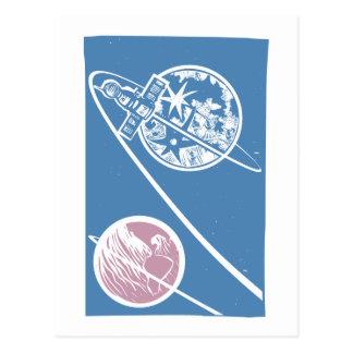 Soyuz, das den Mond in Umlauf bringt Postkarte