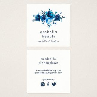 Sozial-Medium-Ikonen des schicken blauen Quadratische Visitenkarte