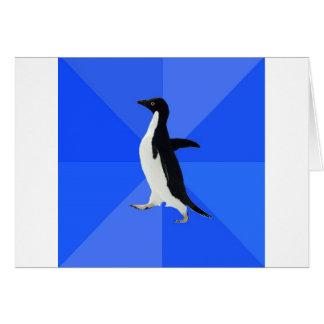 Sozial--Ungeschickt-Pinguin-Meme Grußkarte