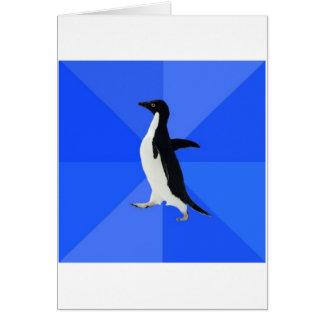 Sozial ungeschicktes Pinguin-Ratetier Meme Grußkarte
