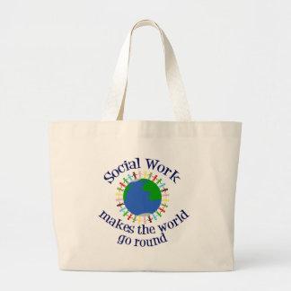 Sozialarbeit lässt die Welt sich drehen Jumbo Stoffbeutel