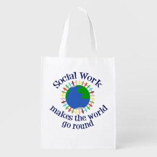 Sozialarbeit lässt die Welt sich drehen Wiederverwendbare Einkaufstasche