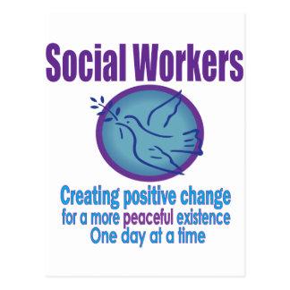 Sozialarbeiter-Friedenstauben-Entwurf Postkarte