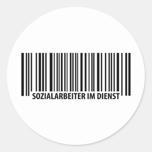 Sozialarbeiter im Dienst Barcodeikone Runder Sticker
