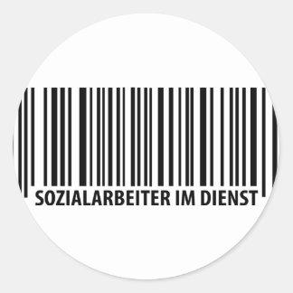 Sozialarbeiter im Dienst Barcodeikone Runde Sticker