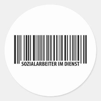 Sozialarbeiter im Dienst Barcodeikone Runder Aufkleber