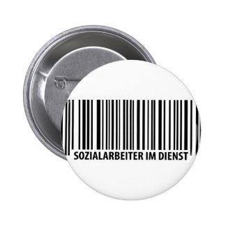 Sozialarbeiter im Dienst Barcodeikone Runder Button 5,7 Cm