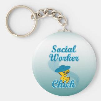 Sozialarbeiter-Küken #3 Standard Runder Schlüsselanhänger