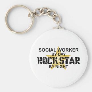 Sozialarbeiter-Rockstar bis zum Nacht Standard Runder Schlüsselanhänger