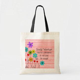 Sozialarbeiter-Zitat-Blumenmuster Budget Stoffbeutel