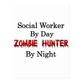 Sozialarbeiter-/Zombie-Jäger Postkarte