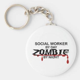 Sozialarbeiter-Zombie Standard Runder Schlüsselanhänger