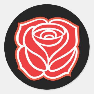 Sozialistischer Rosen-Aufkleber Runder Aufkleber