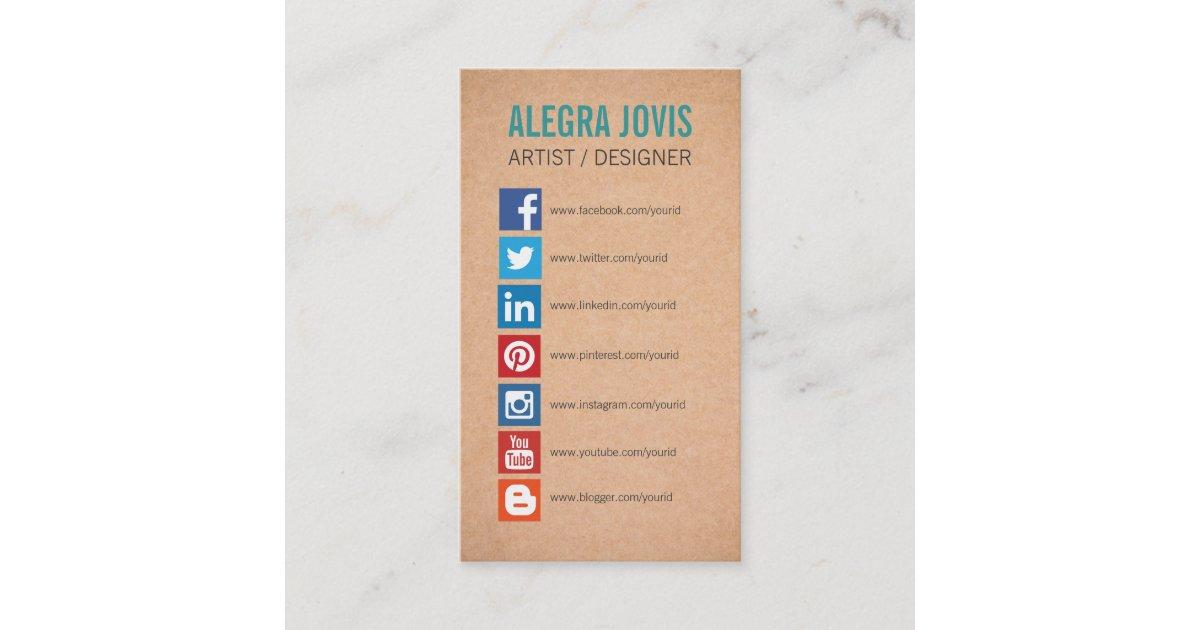 Sozialmedium Ikonen Symbol Visitenkarte Visitenkarte Zazzle De