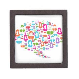 Sozialmedium-Kommunikations-Sprache-Blase Kiste