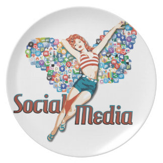 Sozialmediumfee Button-oben Flacher Teller