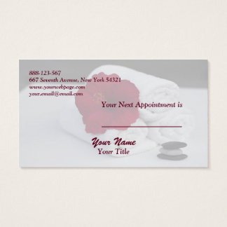 Spa Salon Massage Towels Hibiscus Appointment Card Visitenkarte