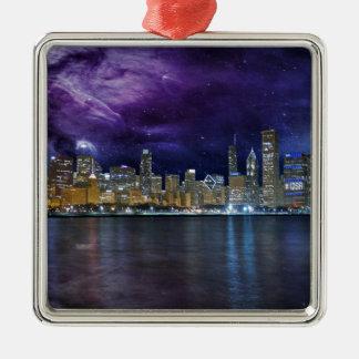 Spacey Chicago Skyline Silbernes Ornament