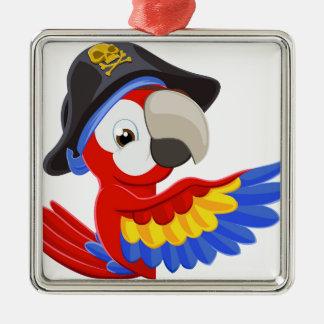 Spähen des Cartoon-Piraten-Papageien Silbernes Ornament