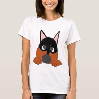 Spähen des minimalen Buttonschwarzen und -rosts T-Shirt