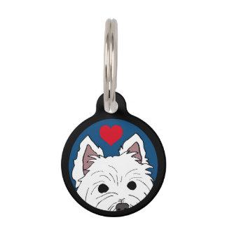 Spähen von Westie mit Herz-Haustier-Umbau Haustiermarke