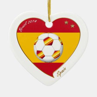 """SPAIN"" FOOTBALL Spanish Soccer Team FUSSBALL Keramik Herz-Ornament"