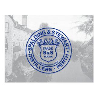 Spalding u. Stewart-Brennerei-Vintages Logo Postkarte