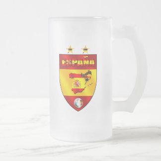 Spanien 1964 2008 Fußball futbol Emblemschild Mattglas Bierglas