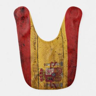 Spanien-Flagge auf altem hölzernem Korn Lätzchen