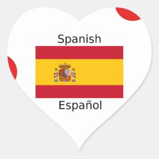 Spanien-Flagge und spanische Sprachentwurf Herz-Aufkleber