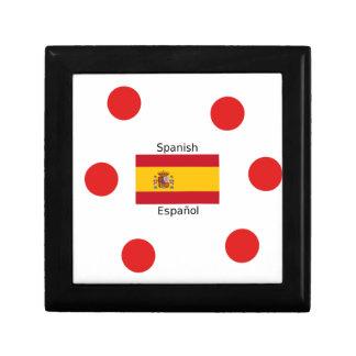 Spanien-Flagge und spanische Sprachentwurf Schmuckschachtel