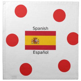 Spanien-Flagge und spanische Sprachentwurf Stoffserviette