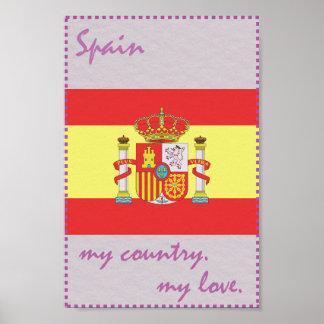 spanien flagge poster. Black Bedroom Furniture Sets. Home Design Ideas