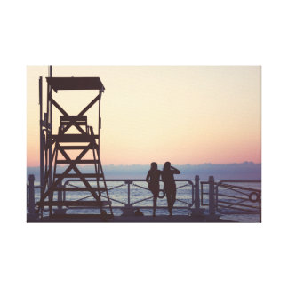 Spanien-Sonnenuntergang-Leibwächter-Stuhl-Foto - Leinwanddruck