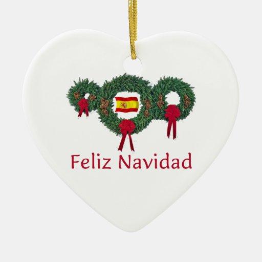 spanien weihnachten 2 keramik herz ornament zazzle. Black Bedroom Furniture Sets. Home Design Ideas