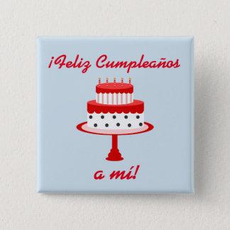 """Spanisch """"Feliz cumpleaños"""" """"alles- Gute zum Quadratischer Button 5,1 Cm"""