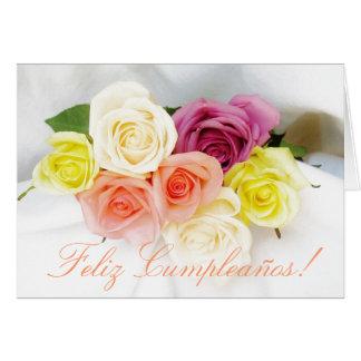 Spanisch: Geburtstag Cumpleanos weiß Karte