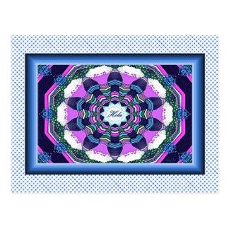 Spanisch Hola rosa blaue lila Mandala-Postkarte Postkarte