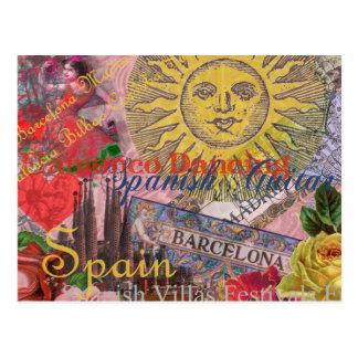 Spanisch-Reise-Collage Spaniens Vintage Trendy Postkarte