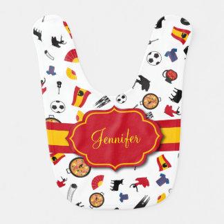 Spanische Einzelteile mit der Flagge, zum des Babylätzchen