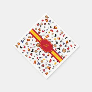 Spanische Einzelteile mit der Flagge, zum Ihres Servietten