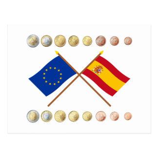 Spanische Euros und EU- u. Spanien-Flaggen Postkarte