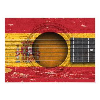 Spanische Flagge auf alter Akustikgitarre 12,7 X 17,8 Cm Einladungskarte