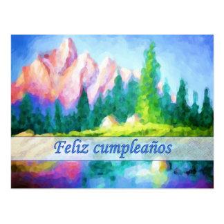 Spanische Geburtstags-Rosa-Gebirgspostkarte Postkarte