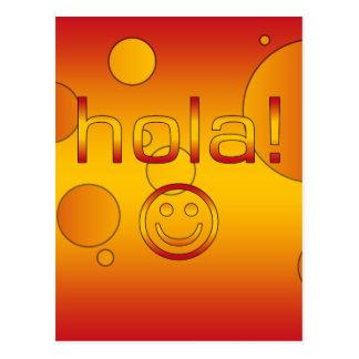 Spanische Geschenke: Hallo/Hola + Smiley Postkarte
